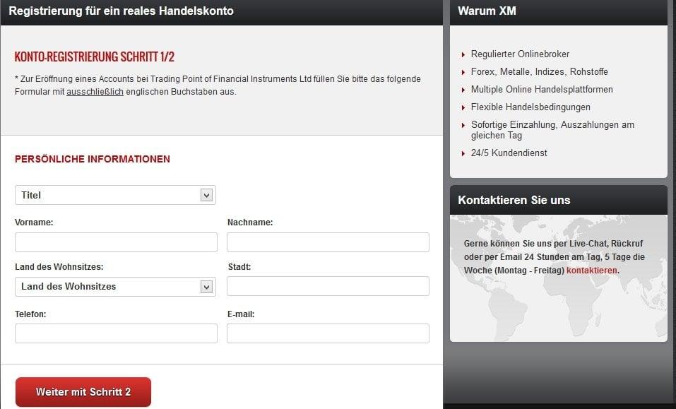 XM Kontoregistrierung