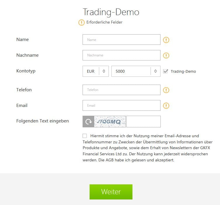 GKFX Demokonto - Online Formular