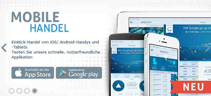Brokervergleich - anyoption mobiler Handel