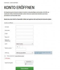 Kostenlos bei Interactive Option anmelden