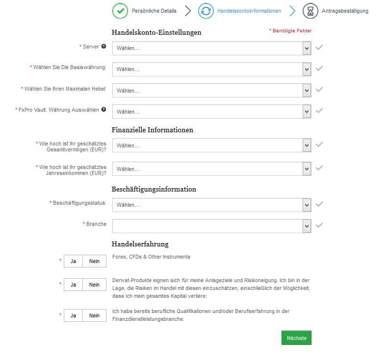 FxPro Erfahrungen - Anmeldung 2