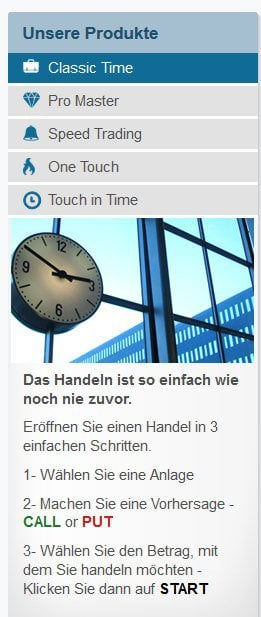 OptionTime Erfahrungen - Handelsarten