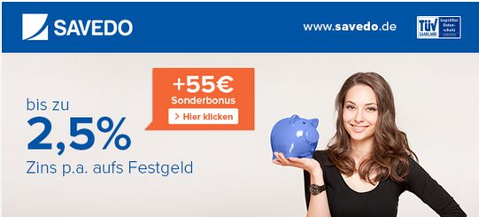 55€ Sonderbonus bei Savedo