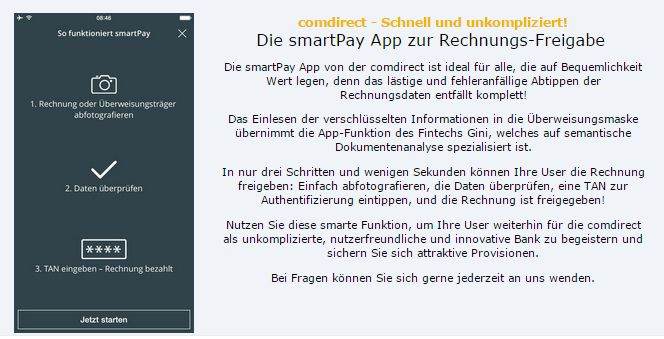 Neues Feature bei comdirect - die smartPay App