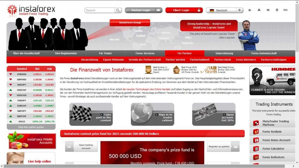 InstaForex Erfahrungen - Webseite