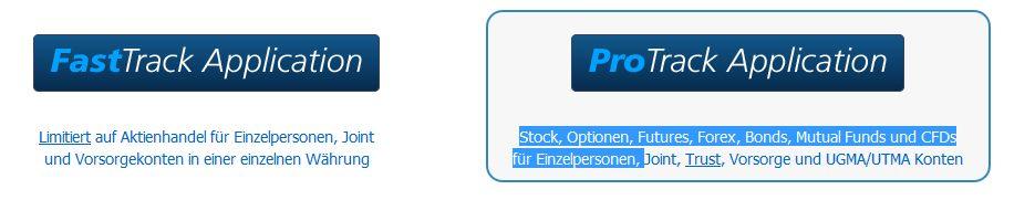 Interactive Brokers - Kontoauswahl 2