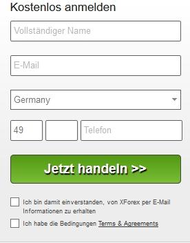 XForex Erfahrungen - Online Formular