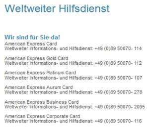 American Express bietet den weltweiten Hilfsdienst