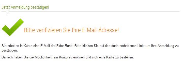 Fidor Bank Erfahrungen - Verifizierung E-Mail