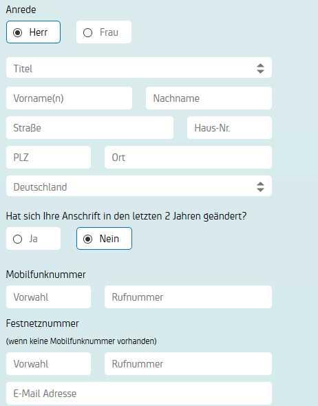 HypoVereinsbank Erfahrungen - Online Formular