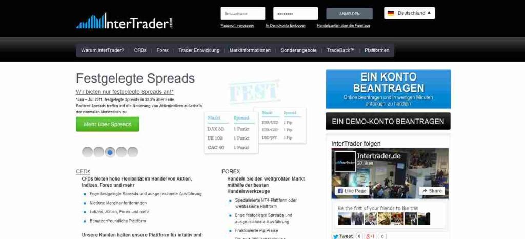 InterTrader Erfahrungen - Webseite