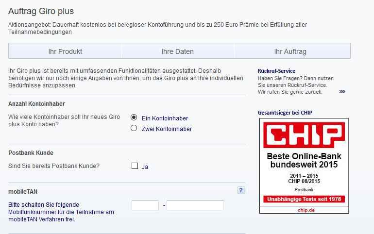 Postbank Giro Plus Erfahrungen - Online Formular