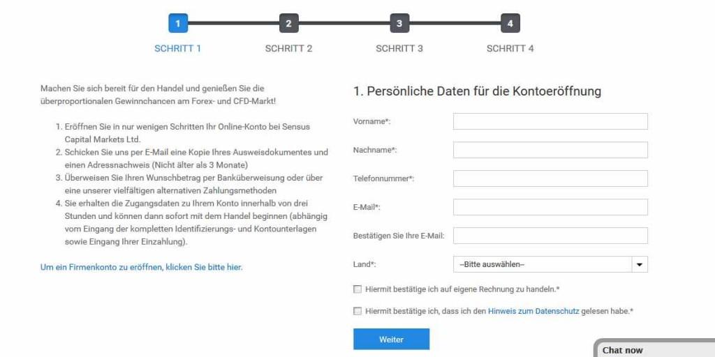 Sensus Capital Markets Erfahrungen - Online Formular 1