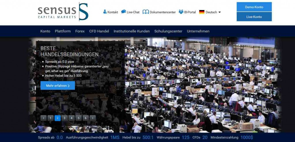 Sensus Capital Markets Erfahrungen - Webseite