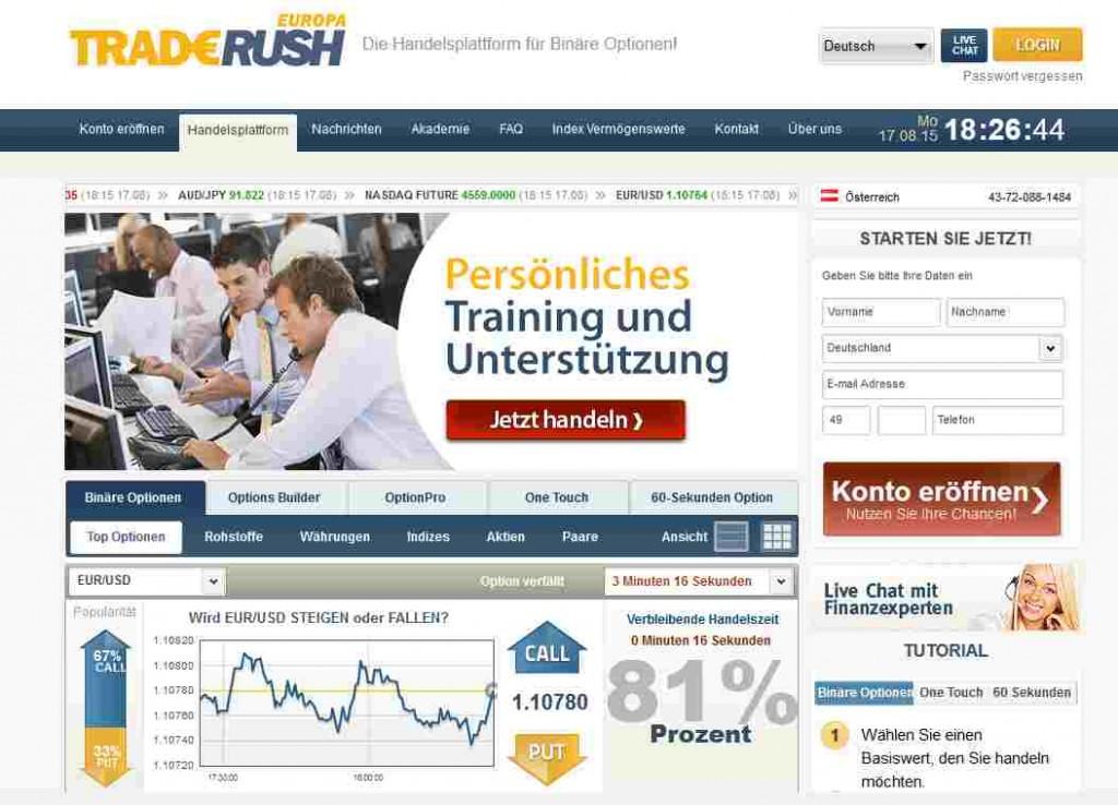 TradeRush Erfahrungen - Webseite