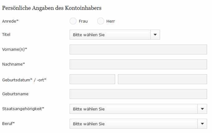 Commerzbank Erfahrungen - Online Formular