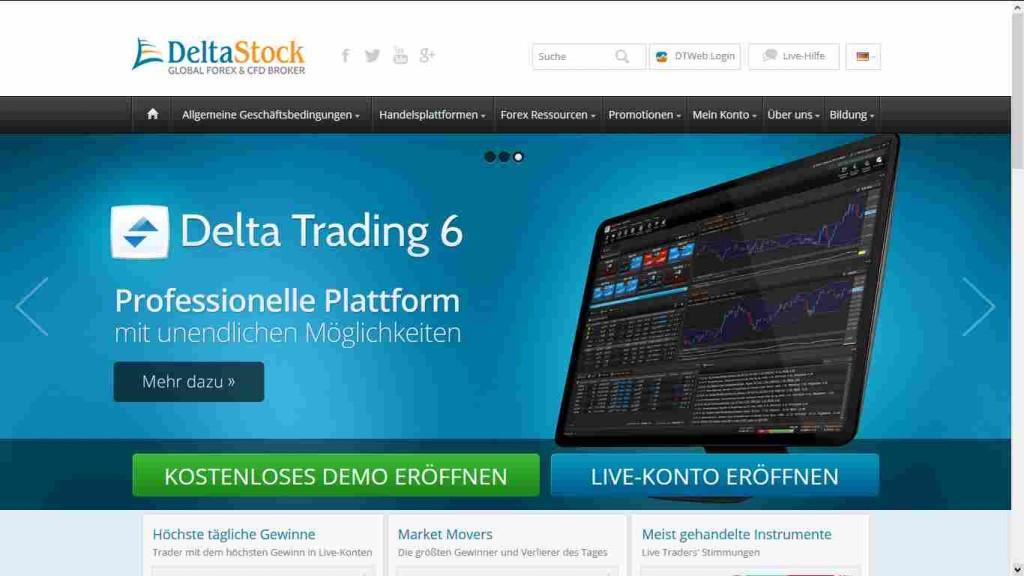 Deltastock Erfahrungen - Webseite