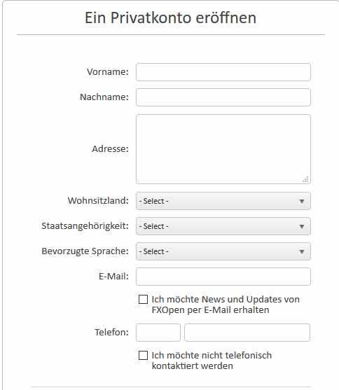 FXOpen Erfahrungen - Online Formular