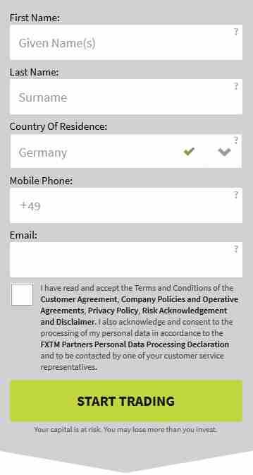FXTM Erfahrungen - Registrierung