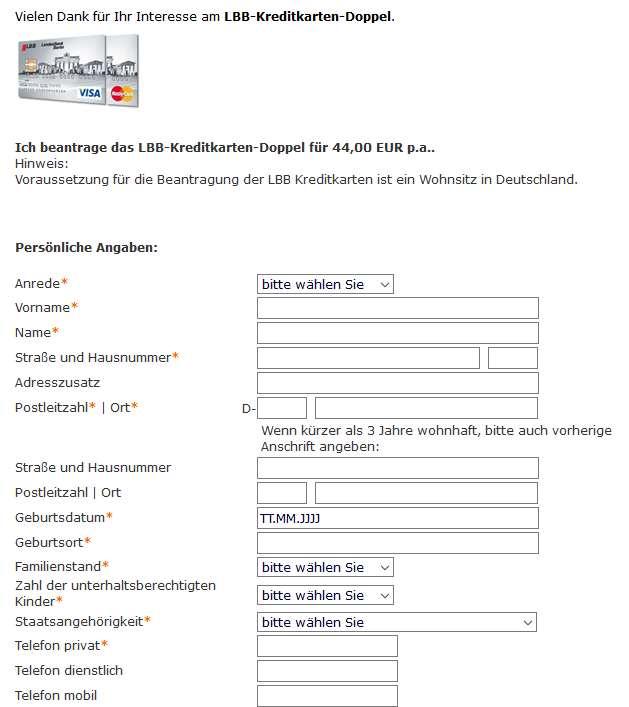 LBB Kreditkarten - Antrag