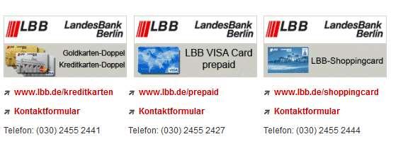 LBB Kreditkarten - Support