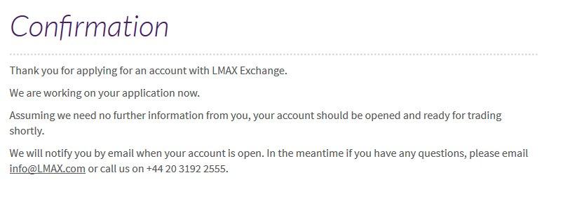 LMAX Erfahrungen - Bestätigung