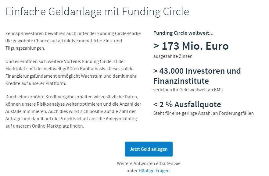 Zencap wird Funding Circle geld anlegen
