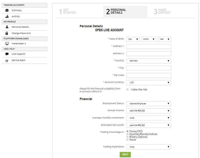 10Markets Erfahrungen - Online Formular
