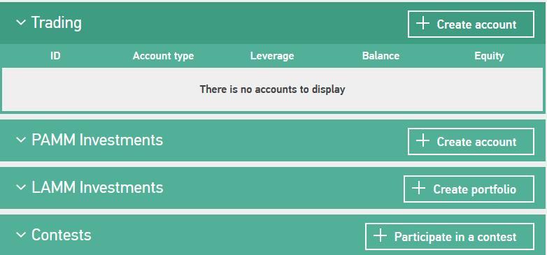 GrandCapital Erfahrungen - Account wählen