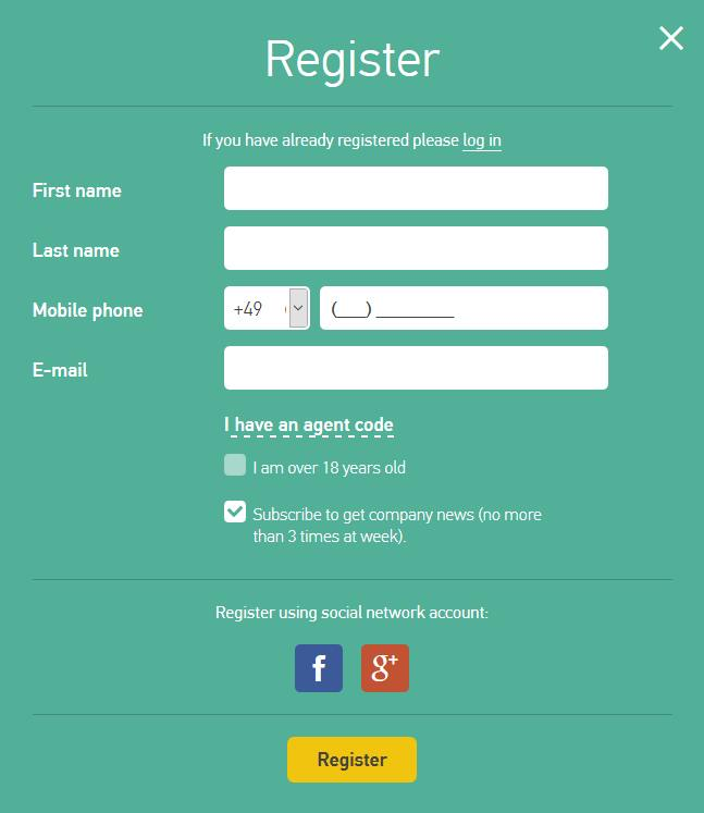 GrandCapital Erfahrungen - Online Formular