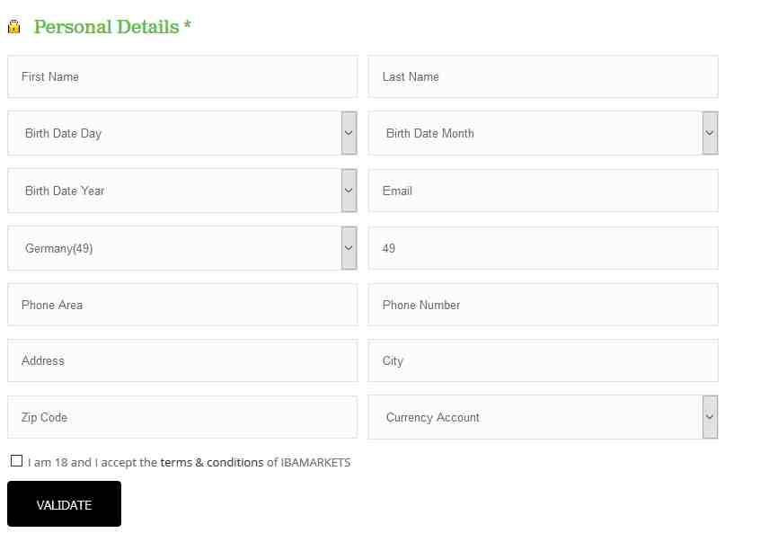 IBA Markets Erfahrungen - Online Formular