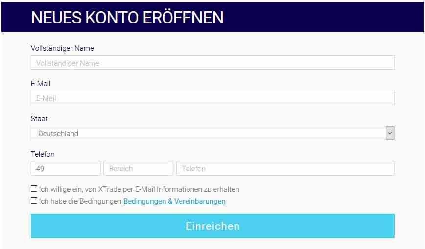 XTrade Erfahrungen - Online Formular