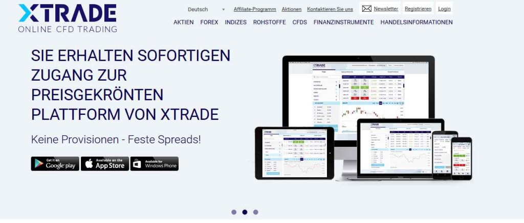 XTrade Erfahrungen - Webseite