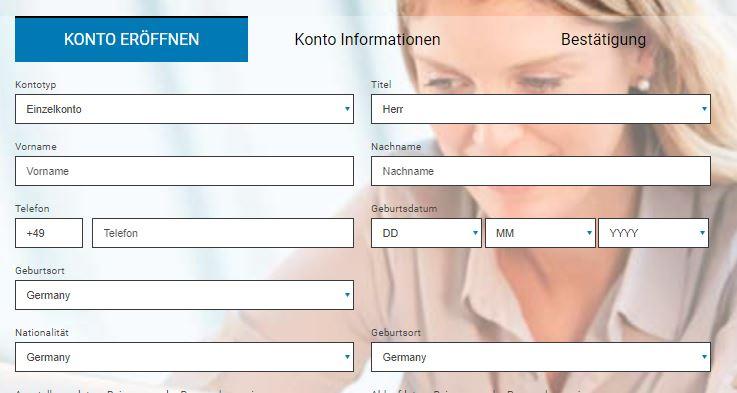 direktbroker FX - Online Formular