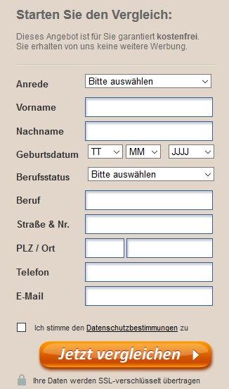 ormigo BU Erfahrungen - online Formular
