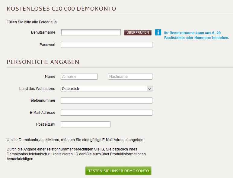 IG Markets App - Demokonto