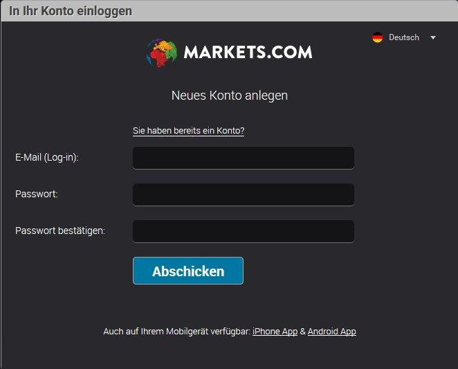 Markets.com App - Demokonto