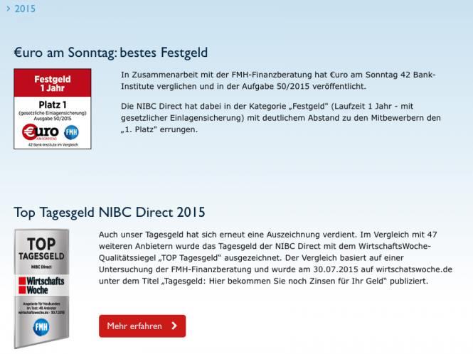 NIBC - Auszeichnungen