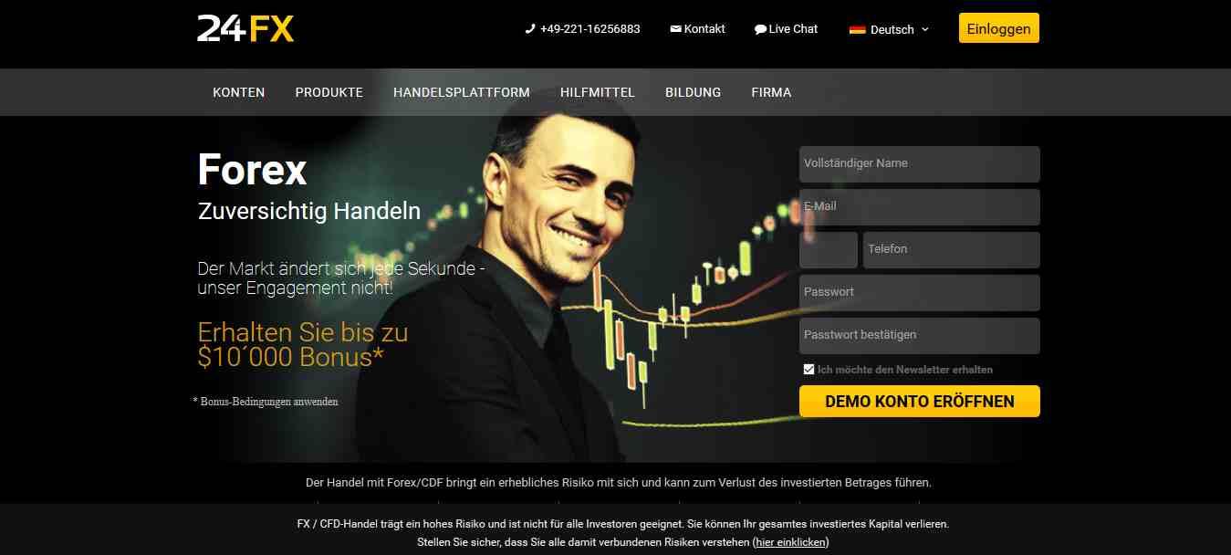 24FX Erfahrungen - Webseite
