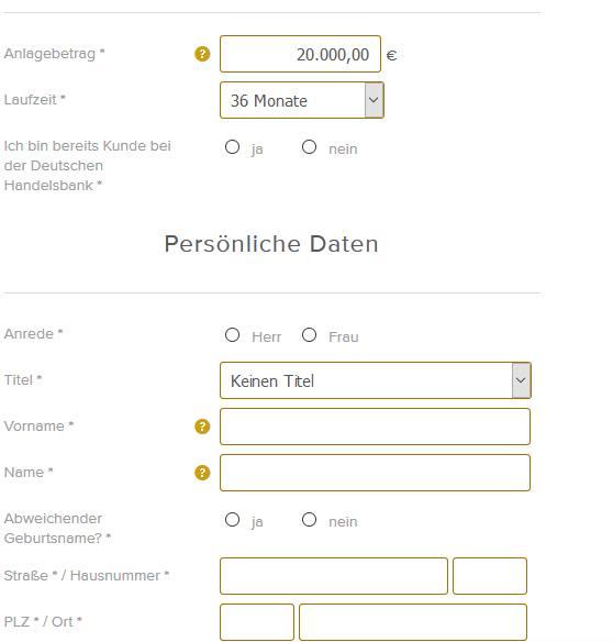 Deutsche Handelsbank - Online Formular
