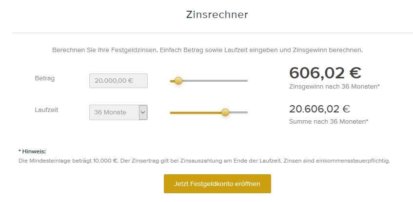 Deutsche Handelsbank - Zinsrechner
