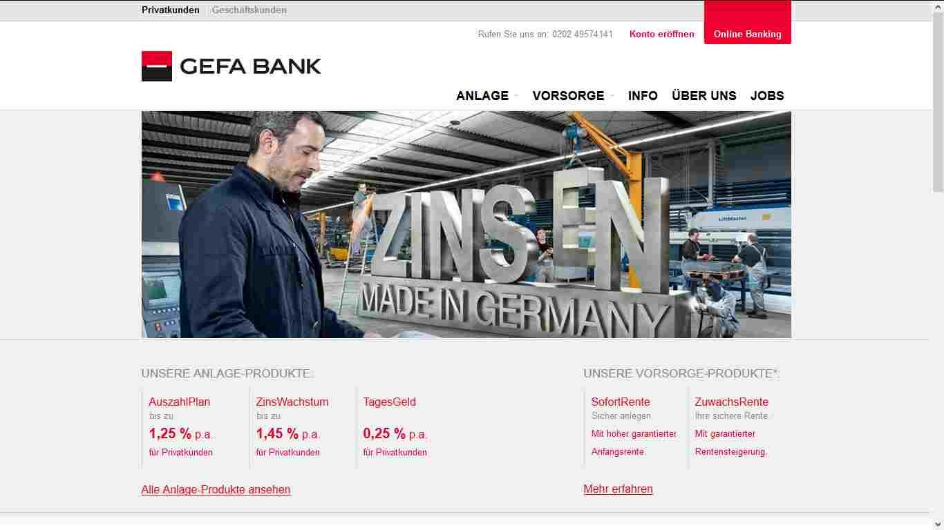 GEFA Erfahrungen - Webseite