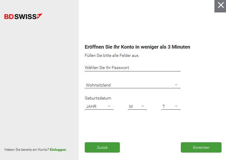 BDSwiss Forex - Online Formular 2