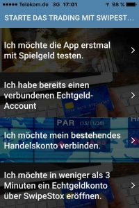 SwipeStox - Optionen