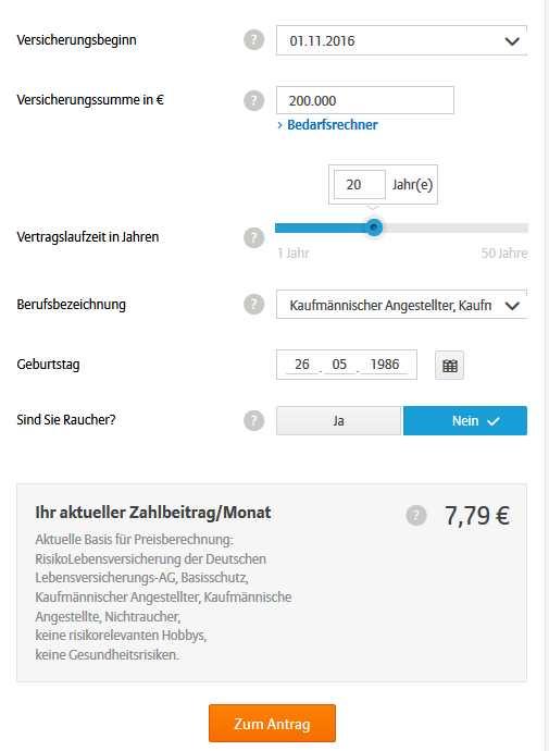 Allianz Risikolebensversicherung - Rechner