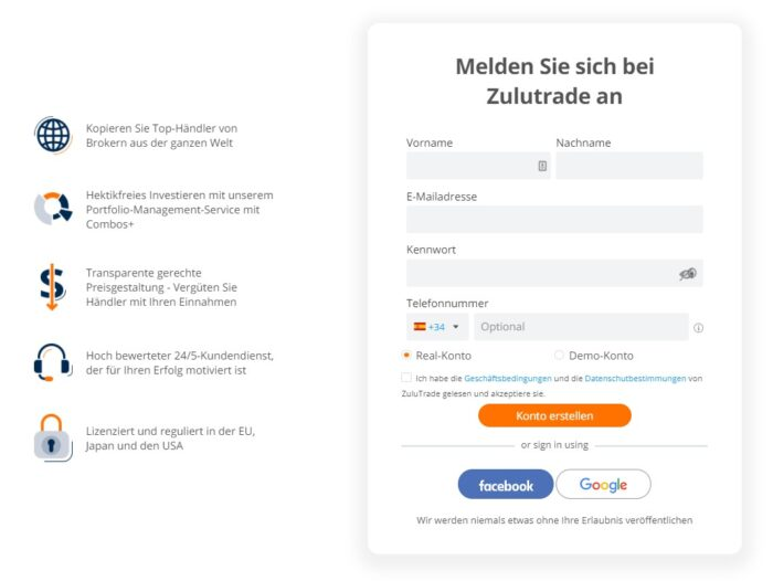 ZuluTrade Erfahrungen - Anmeldung 1