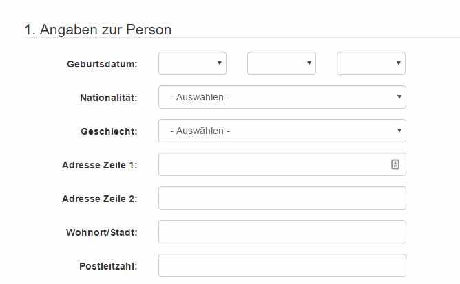 FXGiants Erfahrungen - Online Formular