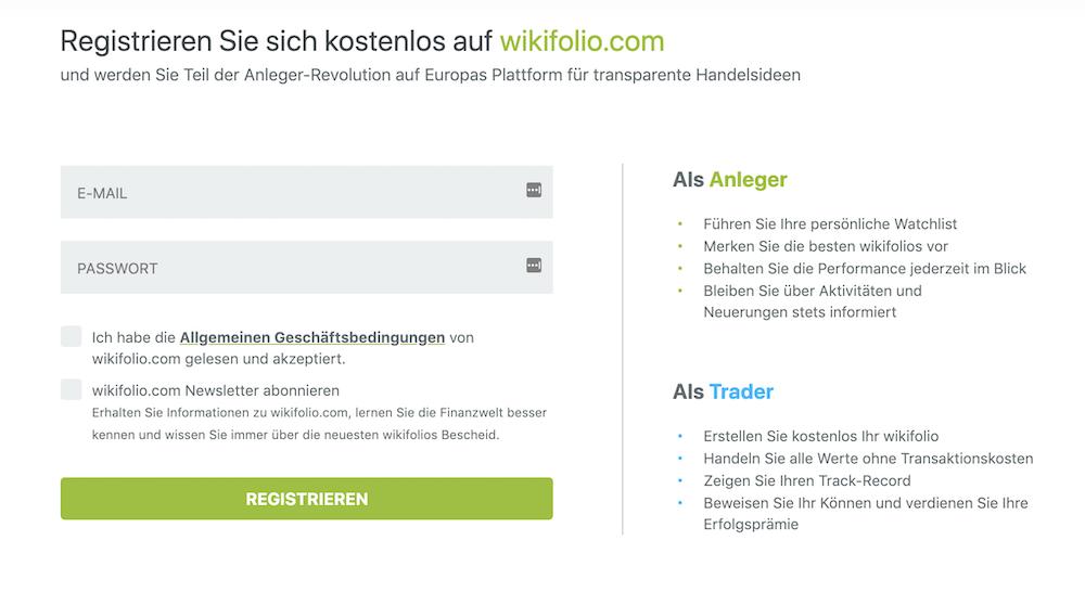 wikifolio.com Anmeldung Schritt 2
