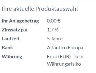 Atlantico Festgeld - Produktauswahl
