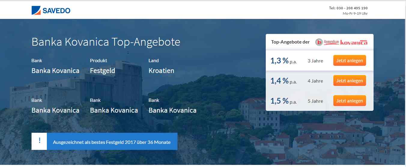 Banka Kovanica Festgeld - Header